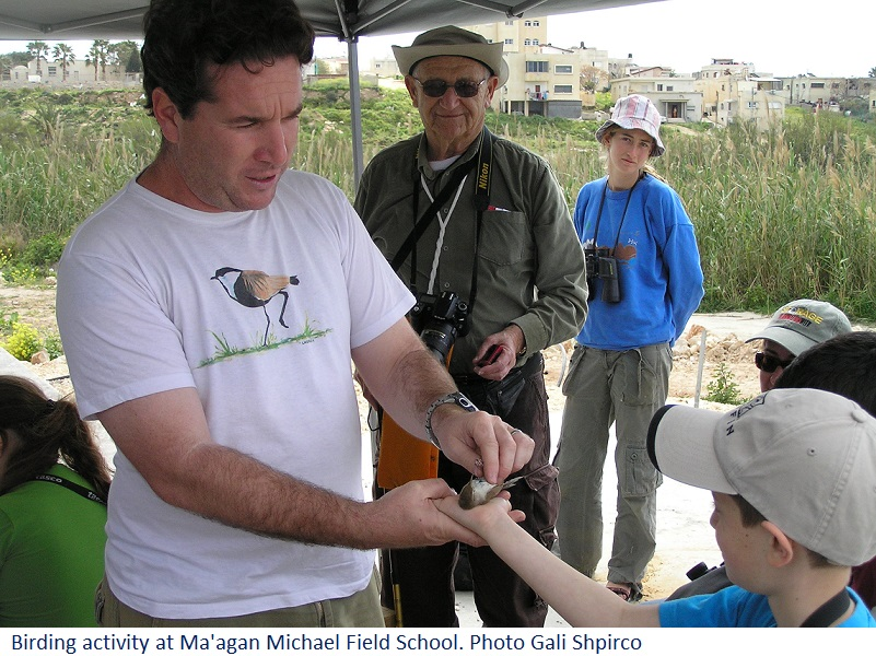 Birding activity at Ma'agan Michael Field School. Photo Gali Shpirco