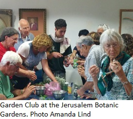 Garden Club at the Jerusalem Botanic Gardens learning useful ways to use herbs. Photo Amanda Lind