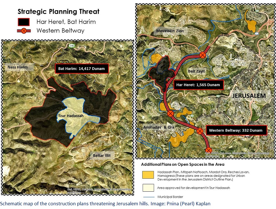 Map of construction plans threatening Jerusalem hills