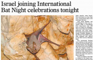 SPNI surveys Israel's bats as Israel joins international celebration