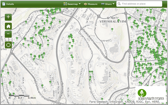 An interactive map shows trees counted in the Jerusalem Tree Survey