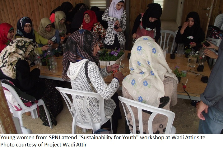 Young women fromSPNI attend a one-day sustainability for youth works