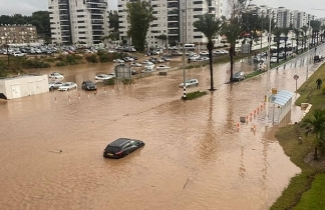 Nahariya flooded after an extreme weather event