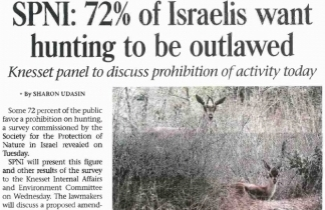 SPNI survey finds 72% of Israelis support hunting ban